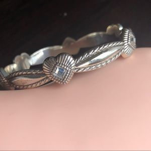 Brighton Silver Heart Bangle Bracelet Rhinestone